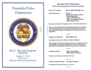 Honolulu Police Department 2013 Second Quarter Awards - August 7, 2013